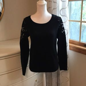 INC black sweater with sheer design at shoulders